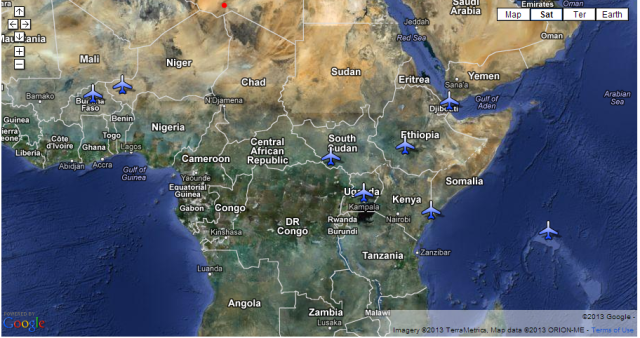 Africom map of drones