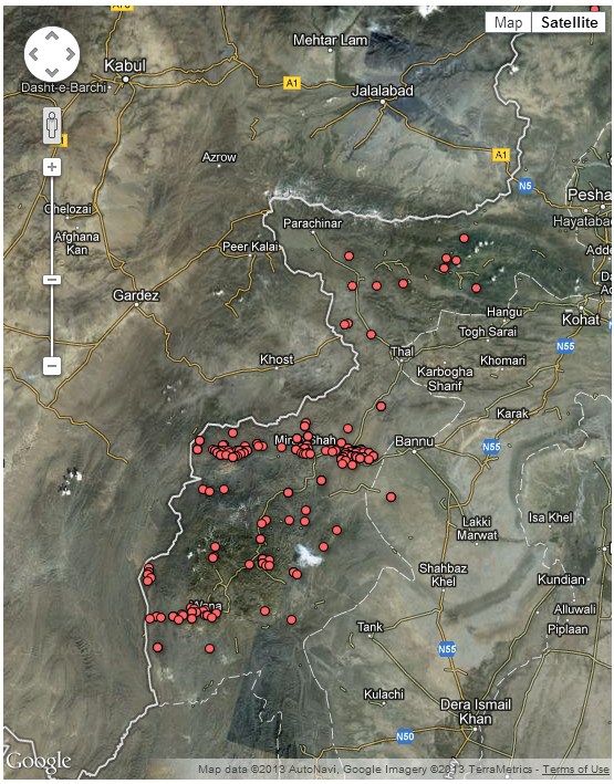Drone map of Pakistan strikes