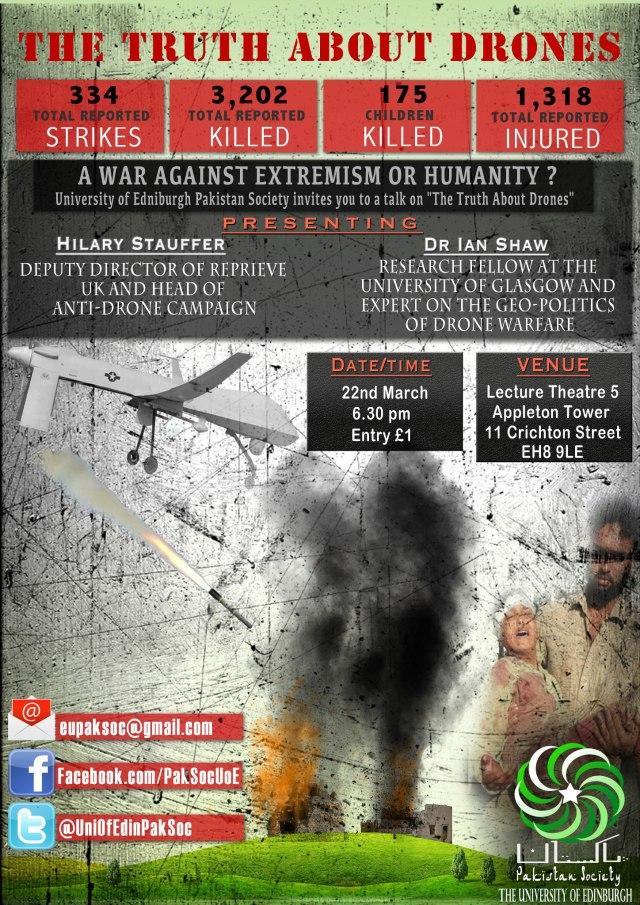Drone Poster, Pakistani Society Edinburgh