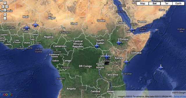 Map of Drone sites in Africa